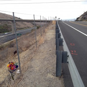 Scene of the collision, looking back towards oncoming traffic; photo by Biking Brian.