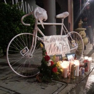 "Ghost bike for Josh ""Monster"" Michael; photo from Ghost Bikes-LA."