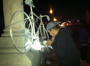 "Ghost bike being installed for Andy Garcia; photo from Ghost Bike Luis ""Andy"" Garcia Facebook page"
