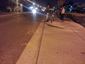 Collision scene suggests Ornelas was riding in the street, not on sidewalk; photo by Danny Gamboa.