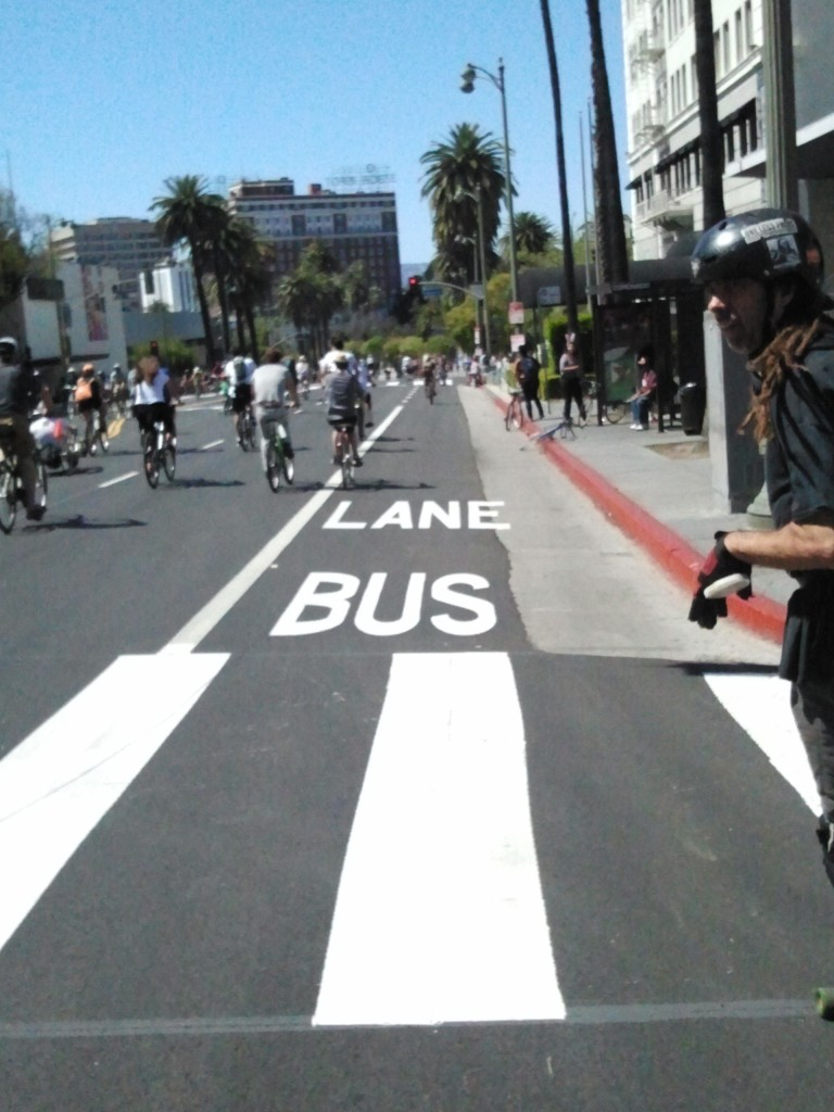 This was my first chance to ride the new Wilshire Blvd Bus —and bike —Only Lanes.
