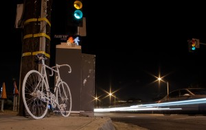 Ghost bike in memory of Sal Sahagun; photo by Danny Gamboa