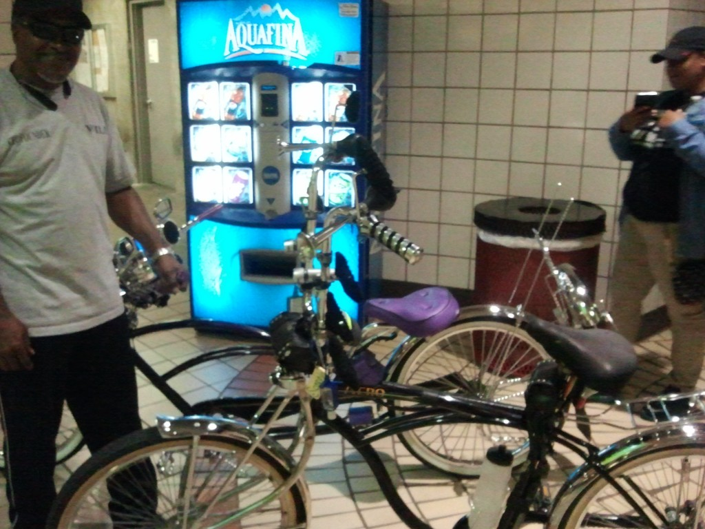 These awesomely customized bikes were waiting for an elevator at the NoHo Red Line station.