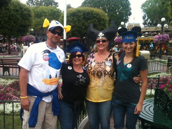 From left to right: dad, Julia, grandma and me. Disneyland 2012 celebrating mine and Julia's graduation, grandmas birthday and dad and Julia's anniversary.